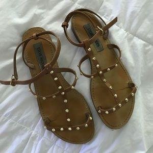 Steve Madden brown leather studded sandals size 9